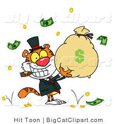 Big Cat Clipart of a Rich Tiger Holding a Bag of Money by Hit Toon