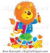 Big Cat Clipart of a School Lion Walking in the Fall by Alex Bannykh