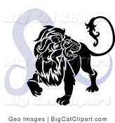 Big Cat Clipart of a Silhouetted Roaring Lion over a Blue Leo Astrological Sign of the Zodiac by AtStockIllustration