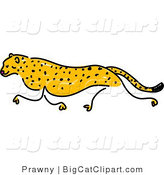 Big Cat Clipart of a Sketched Cheetah Running Left by Prawny