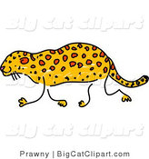 Big Cat Clipart of a Sketched Leopard Walking Left by Prawny