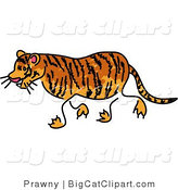 Big Cat Clipart of a Sketched Tiger Walking Left by Prawny
