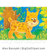 Big Cat Clipart of a Smiling Bobcat Walking Through a Forest by Alex Bannykh