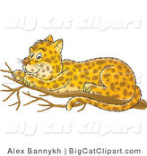 Big Cat Clipart of a Spotted Leopard Resting in a Tree by Alex Bannykh