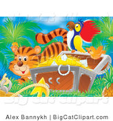 Big Cat Clipart of a Striped Tiger by an Orange Bird Flying by a Parrot Perched on a Treasure Chest Full of Gold and Diamonds by Alex Bannykh