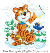 Big Cat Clipart of a Student Tiger Cub and Bird in the Snow Coloring in an Activity Book by Alex Bannykh
