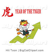 Big Cat Clipart of a Successful Business Tiger Riding up on on a Profit Arrow, with a Year of the Tiger Chinese Symbol and Text by Hit Toon