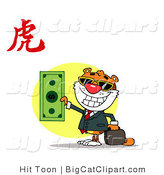 Big Cat Clipart of a Successful Tiger Holding a Dollar Bill with a Year of the Tiger Chinese Symbol by Hit Toon