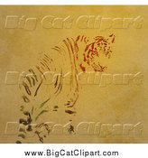 Big Cat Clipart of a Tiger Blending into the Background by Elaineitalia