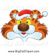 Big Cat Clipart of a Tiger Head Wearing a Santa Hat by Alex Bannykh