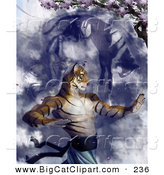 Big Cat Clipart of a Tiger Martial Arts Master Practicing Under a Blossoming Cherry Tree by Tonis Pan