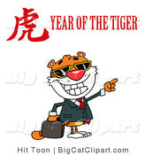 Big Cat Clipart of a Tiger Pointing Right with a Year of the Tiger Chinese Symbol and Text by Hit Toon