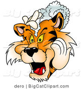 Big Cat Clipart of a Tiger Shampooing His Mane by Dero