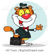 Big Cat Clipart of a Waving Tiger Business Man by Hit Toon