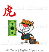 Big Cat Clipart of a Wealthy Grinning Tiger Holding a Dollar with a Year of the Tiger Chinese Symbol by Hit Toon