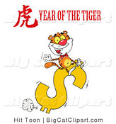 Big Cat Clipart of a Wealthy Tiger Riding a Golden Dollar Symbol with a Year of the Tiger Chinese Symbol and Text by Hit Toon