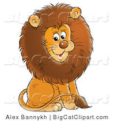 Big Cat Clipart of a Young Male Lion with a Big Fluffy Brown Mane, Sitting and Smiling by Alex Bannykh