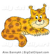 Big Cat Clipart of an Adorable Bobcat by Alex Bannykh