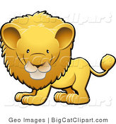Big Cat Clipart of an Adorable Golden Male Lion with a Big Mane Looking Forward by AtStockIllustration