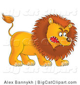Big Cat Clipart of an Aggressive Male Lion Growling and Baring His Teeth by Alex Bannykh