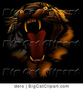 Big Cat Clipart of an Angry Roaring Tiger by Dero