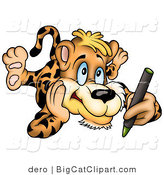 Big Cat Clipart of an Artistic Leopard Coloring with a Green Crayon by Dero