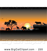 Big Cat Clipart of an Orange Safari Sunset with Silhouetted Animals and Trees by Pauloribau