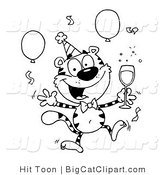 Big Cat Clipart of an Outlined Tiger Character with Champagne Jumping in the Air at a Party by Hit Toon