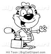 Big Cat Clipart of an Outlined Waving Business Tiger by Hit Toon