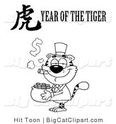 Big Cat Clipart of an Outlined Wealthy Tiger Holding a Pot of Gold with a Year of the Tiger Chinese Symbol and Text by Hit Toon
