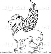 Big Cat Clipart of an Outlined Winged Lion by Vector Tradition SM