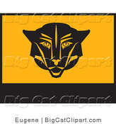 Big Cat Clipart of Black and Orange Puma Banner by Eugene