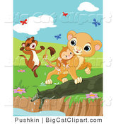 Big Cat Clipart of Butterflies over a Ferret and Lion Saving a Monkey from a Pond by Pushkin