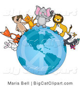 Big Cat Clipart of Cute Critters on a Peace Earth by Maria Bell