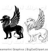 Big Cat Clipart of Winged Lions by Vector Tradition SM