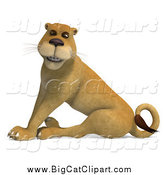 Big Cat Vector Clipart of a 3d Happy Lioness Sitting by Ralf61