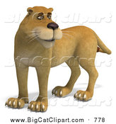 Big Cat Vector Clipart of a 3d Lioness by Ralf61