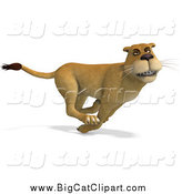 Big Cat Vector Clipart of a 3d Lioness Running by Ralf61