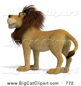 Big Cat Vector Clipart of a 3d Male Lion by Ralf61