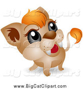 Big Cat Vector Clipart of a Adorable Baby Lion Cub by BNP Design Studio