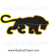 Big Cat Vector Clipart of a Black and Gold Panther by Lal Perera