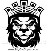 Big Cat Vector Clipart of a Black and King Lion with a Crown by Vector Tradition SM