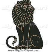 Big Cat Vector Clipart of a Black and Tan Majestic Male Lion Sitting by JVPD