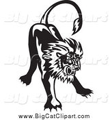 Big Cat Vector Clipart of a Black and White Angry Lion by Patrimonio