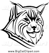Big Cat Vector Clipart of a Black and White Bobcat Face by Vector Tradition SM