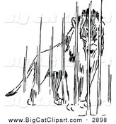 Big Cat Vector Clipart of a Black and White Caged Lion by Prawny Vintage
