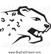 Big Cat Vector Clipart of a Black and White Cheetah Head in Profile by Lal Perera
