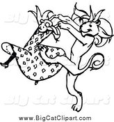 Big Cat Vector Clipart of a Black and White Dancing Girl and Lion by Prawny Vintage