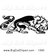 Big Cat Vector Clipart of a Black and White Floral Lion by Prawny Vintage