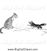 Big Cat Vector Clipart of a Black and White Fox and Leopard by Prawny Vintage